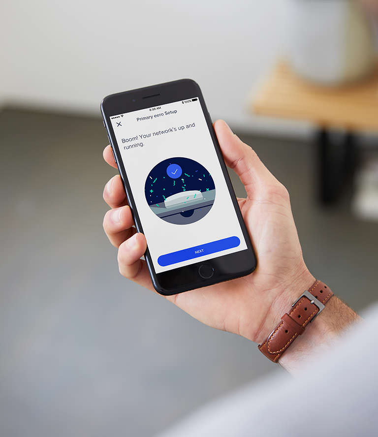 eero system being set up - eero mobile app confirming successful setup.